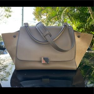 Celine trapeze bag in taupe leather and suede